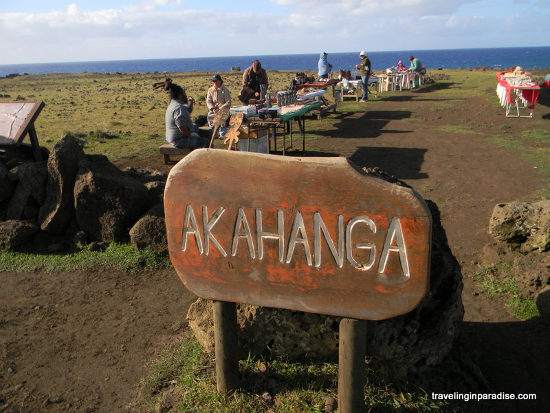 Locals selling souvenirs at Akahanga